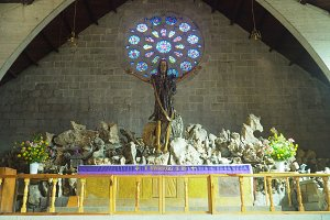 Interior of the Catholic Church, Sagada, Philippines.