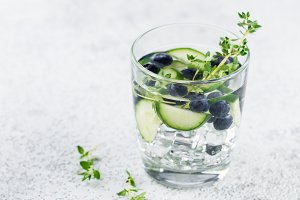 Detox water with blueberry, cucumber and thyme