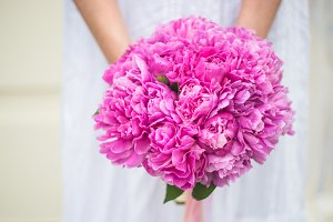 Floral card with pink peonies