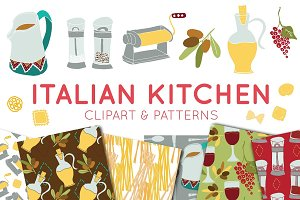 Italian Food Clipart & Digital Paper