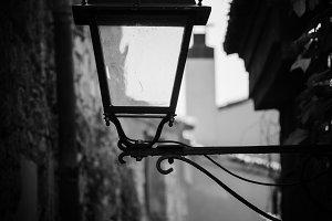 An old street lamp. Girona town