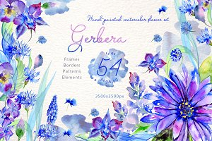 Blue gerbera PNG watercolor set