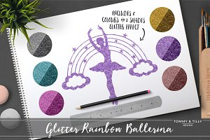 Glitter Rainbow Ballerina Clipart