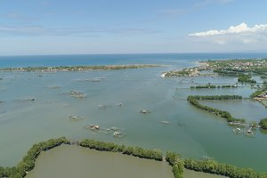 Town among the water in mangroves.