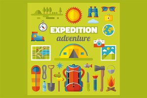 Expedition Adventure Flat Icons Set