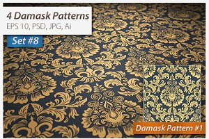 4 Seamless Damask Patterns Set#8