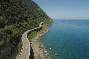 Highway on the viaduct by the sea. Philippines, Luzon