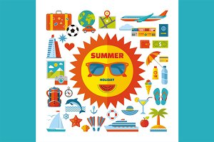 Summer Holiday Flat Icons Set