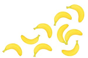 whole bananas isolated on white background with copy space for your text. Top view. Flat lay