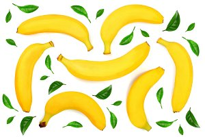 whole bananas isolated on white background. Top view. Flat lay. Seamless pattern