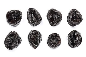 Dry plums prunes set isolated on white background as package design element