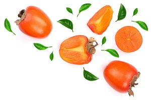 persimmon decorated with leaves isolated on white background with copy space for your text. Top view. Flat lay pattern