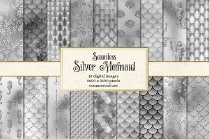Silver Mermaid Digital Paper