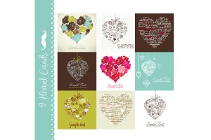 Card Set of 9 Designs, hearts