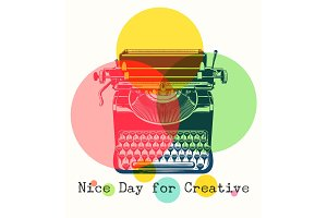 Mono colors retro poster with typewriter