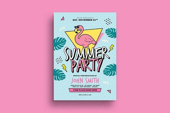 90 s summer party flyer flyer templates creative market