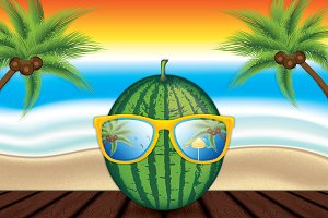 Watermelon with sunglasses