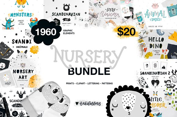 Nursery Bundle Prints Patterns Ilrations