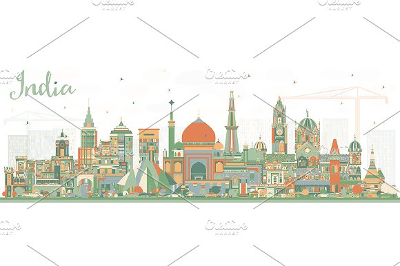 India City Skyline with Color  in Illustrations