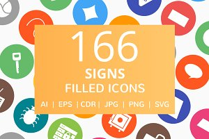 166 Signs Filled Round Icons