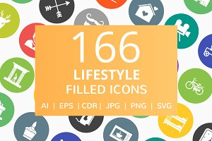 166 Lifestyle Filled Round Icons