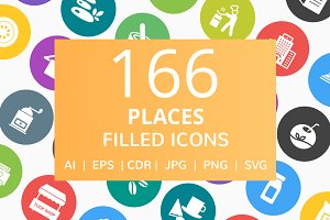166 Places Filled Round Icons