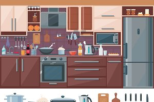 Kitchen Interior Elements Set