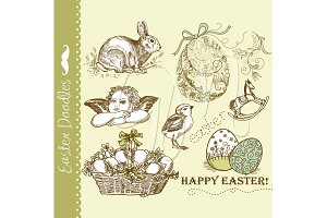Easter Vintage Digital Doodles