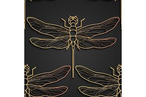Dragonfly pattern, black gold pattern design. Vector illustration. Seamless pattern with dragonfly isolated.