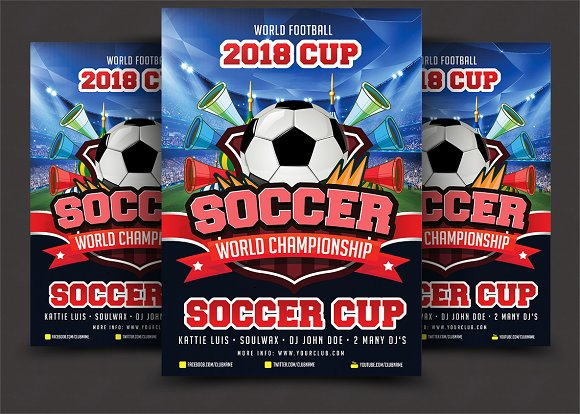 soccer cup poster template flyer templates creative market