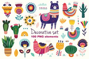 Big decorative set with Llama