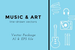 Music & Art  Line Vectors