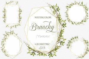 Branchy Geometric Frames Clip Art