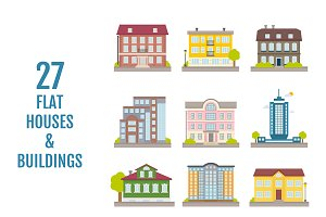 Set of 27 vector houses & buildings