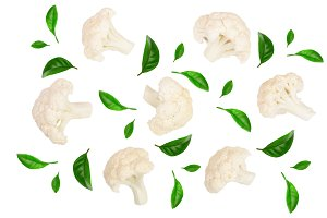 Piece of cauliflower decorated with green leaves isolated on white background without a shadow. Top view. Flat lay