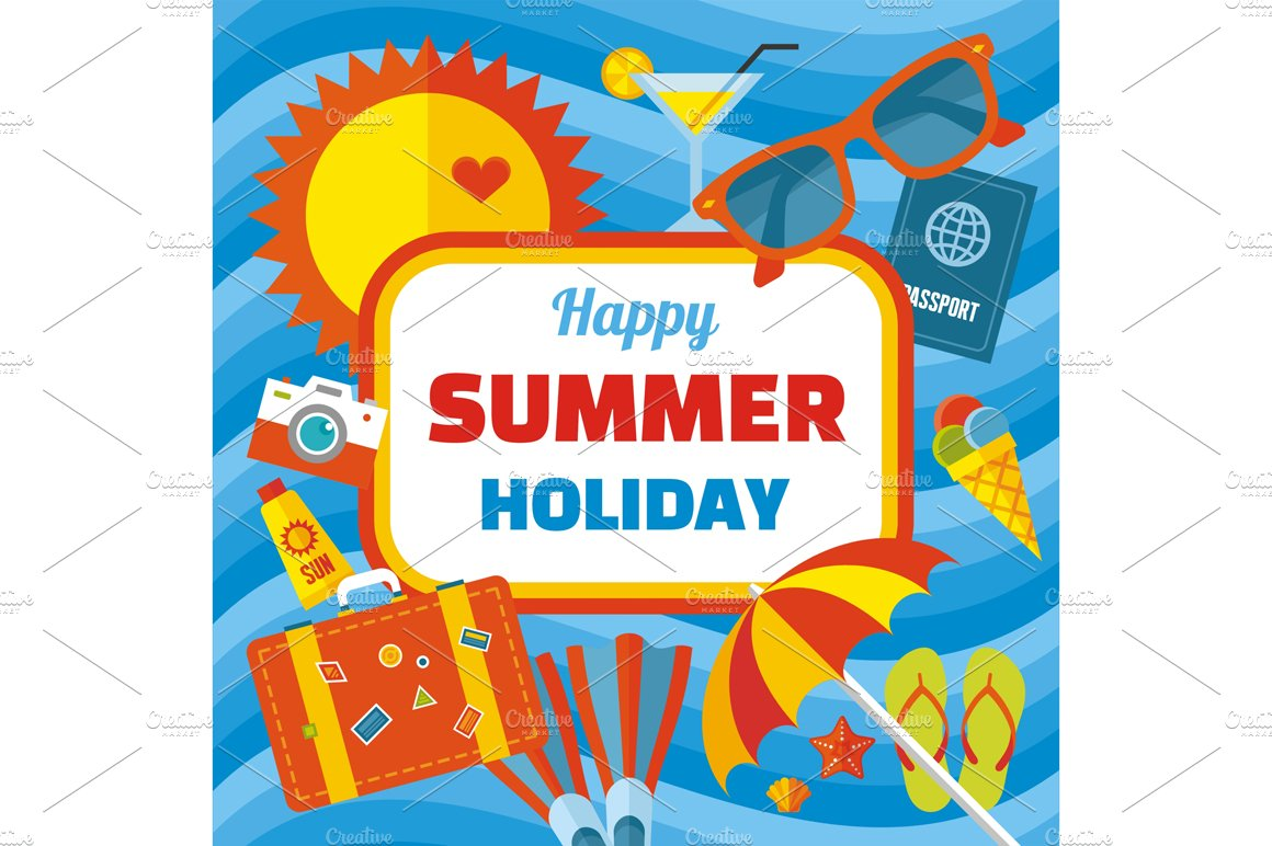 Happy Summer Holiday Vector Banner Illustrations Creative Market