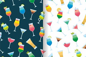 Seamless pattern with cocktails