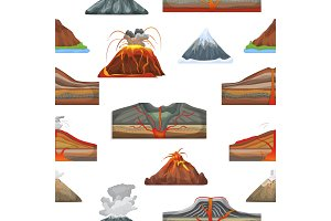 Volcano vector eruption and volcanism or explosion convulsion of nature volcanic in mountains illustration set of volcanology seamless pattern background
