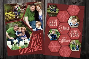 Hex: 5x7 Xmas Card Template