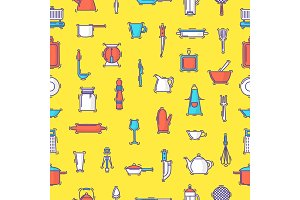 Kitchenware vector seamless pattern cookware for cooking and kitchen utensils or cutlery for kitchener backdrop illustration tableware in kitchenette wallpaper seamless pattern background
