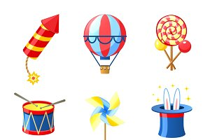 Carnival festive and circus icons
