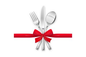 Fork, spoon, knife with red bow. Set