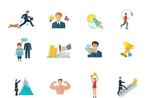 Motivation icons flat set
