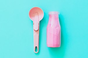 spoon with a pink drink