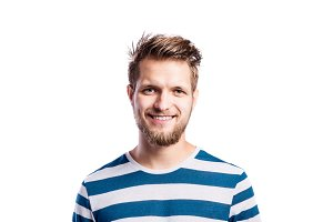 Hipster man in striped blue t-shirt, studio shot, isolated