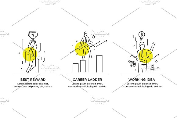 Set of illustrations concept with businessmen. Workflow, growth, graphics. Business development, milestones. linear illustration Icons infographics. Landing page site print poster