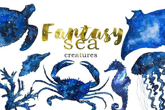 Watercolor Sea Creatures Clipart