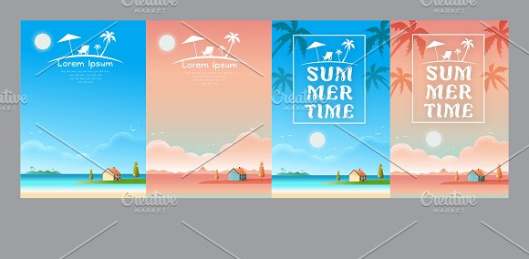 relaxing vacation house the beach in Illustrations