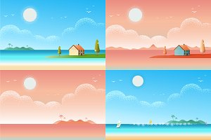 Beautiful seascape beach Vector