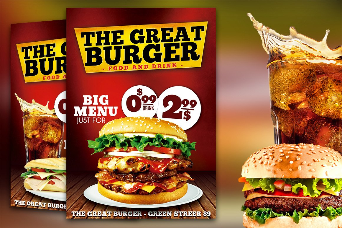 Burger Fast Food Flyer Restaurant Flyer Templates